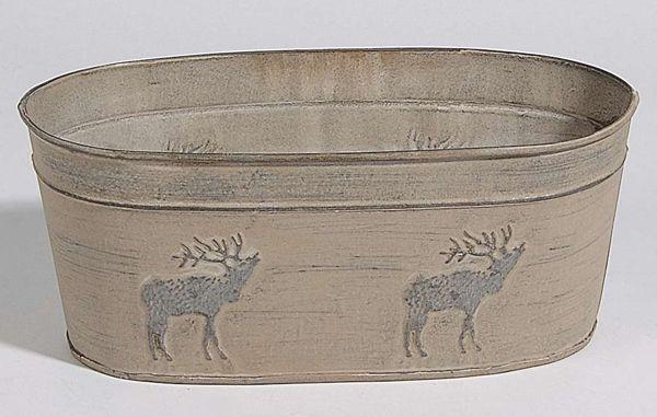 Metalljardiniere Deer GRAU-BRAUN/SCHLAMM 25x13,5x10,5cm 78691