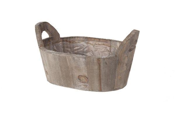 Holzjardiniere mit Folie NATUR-WASH 15296 21x13x10,5cm