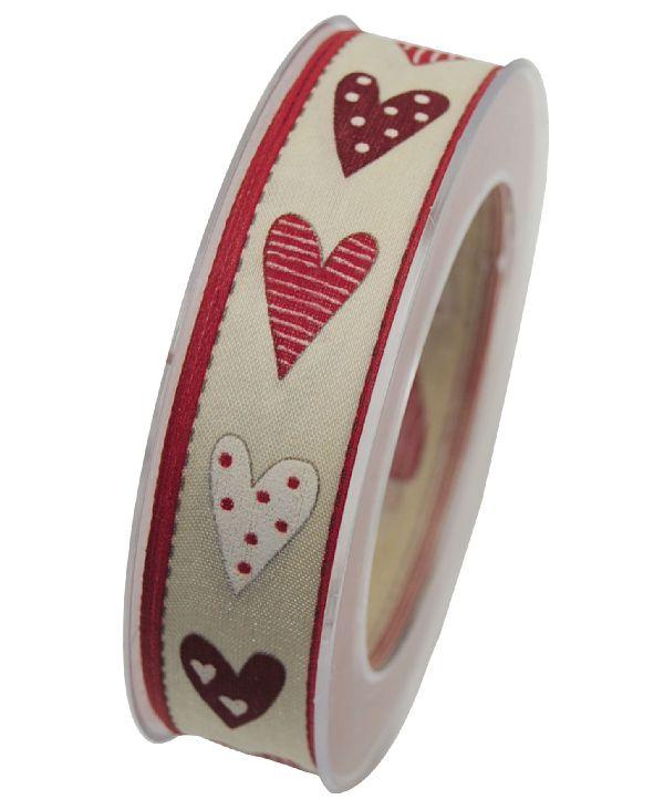 Band Heisse Liebe mit Draht ROT X342 20 mit Drahtkante 25mm 20m Herzband