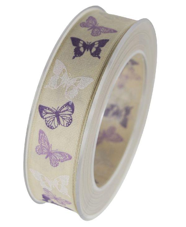 Band Arielle mit Drahtkante FLIEDER X353 62 25mm 20m Schmetterlingsband