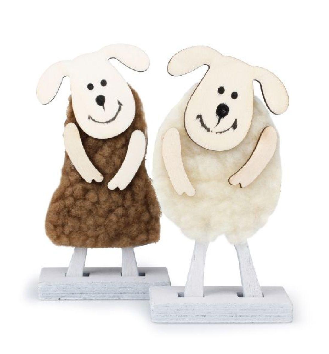Schaf Wolle 7761015 CREME-BRAUN 8 Stück B:5cm H:10cm Holz-Filzwolle