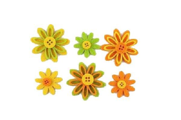 Filzblüte Flowerbutton GELB-ORANGE-GRÜN Streu 3,5x0,6cm 15805  48Stück