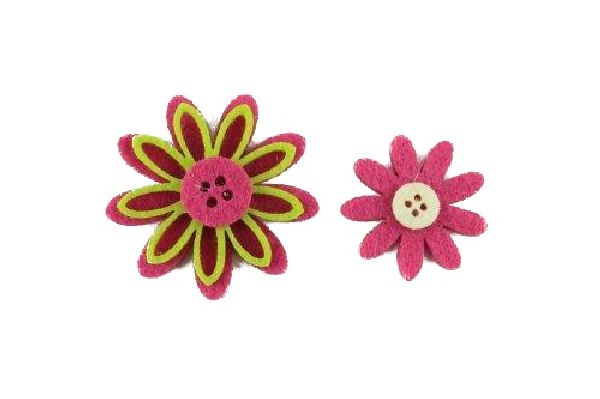 Filzblüte Flowerbutton PINK-GRUEN Streu 3,5x0,6cm 15805  48Stück