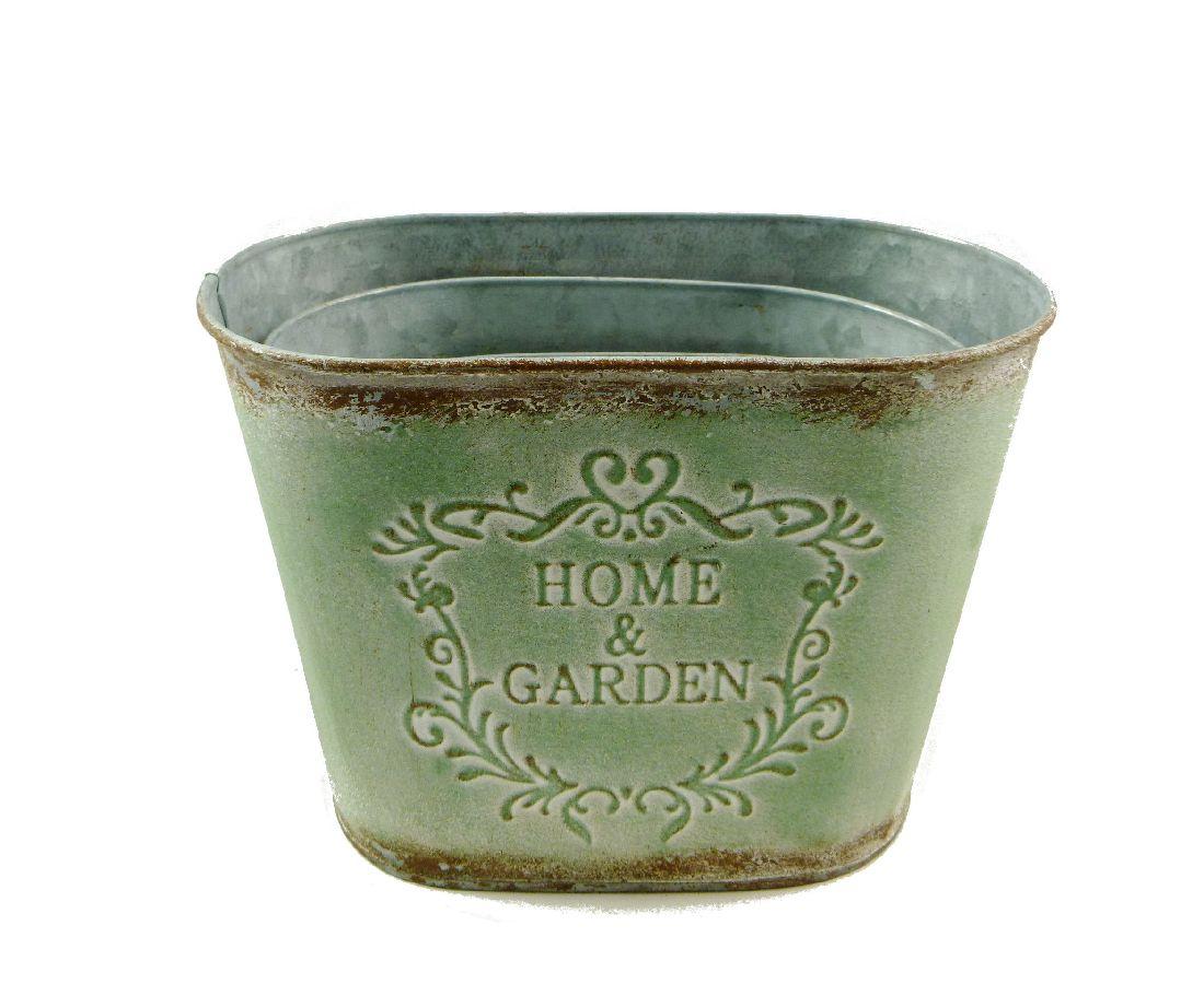 Metall Topfset Home + Garden GRÜN-ANTIK 13792 oval 16/19/21,8cm S/3