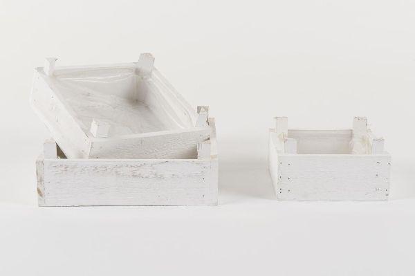 Holzpflanzbox S/3 WHITE-WASH 10173 22x22 / 18x18 / 14x14x5,5 cm