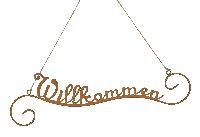 Schild Willkommen ROST 460543 zum Hängen Schrift 54,5xH15,5/36cm