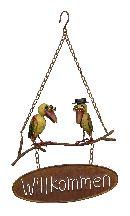 Schild Willkommen 2 Vögel ROST 440293 27x8xH47cm zum Hängen