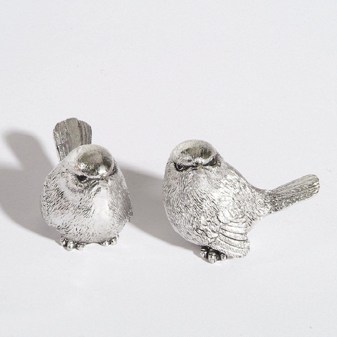 Vogel Silvius SILBER 77395 6cm 2-fach 4 Stück