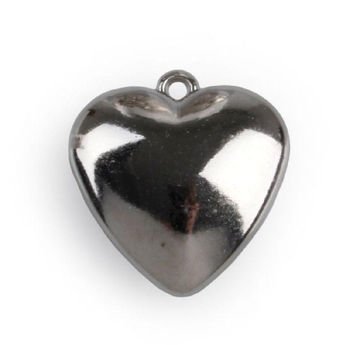Herz Quenta mit Aufhängöse SILBER-GLANZ 3424150 geschlossen Ø3,5cm PVC 36Stück