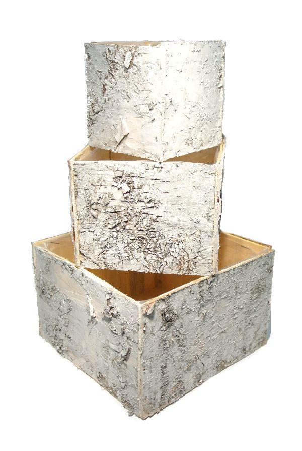 Birkentopf Quadrat S/3 WEISS ABGEW. 4245 mit Folie 10xH10 / 14xH11 / 19xH12 cm