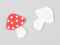 Fliegenpilz Sticker ROT-WEISS 220637 Holz 3,5cm Glückspilz m. Klebepunkt