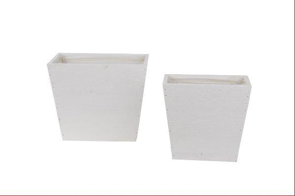 Holzkübel mit Folie S/2 WEISS 12772 18x10x17,5cm/22,5x13,5x19,5cm