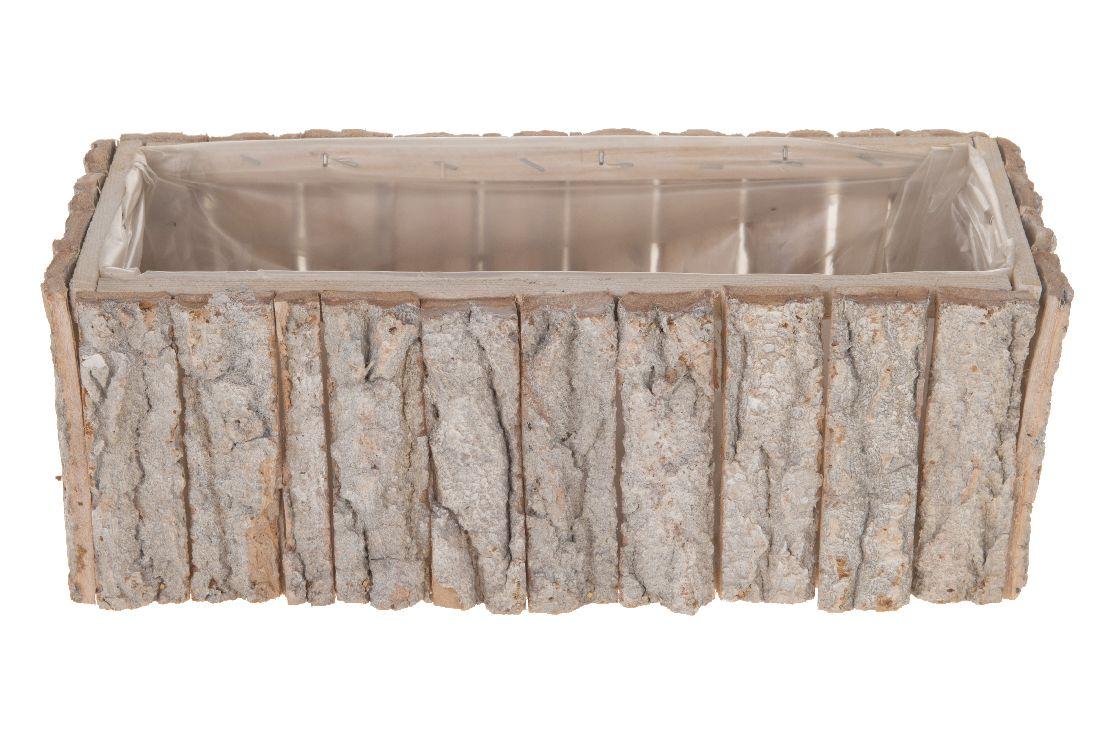 Birkentopf 22780 WHITE-WASH eckig 31x12x11cm mit Folie