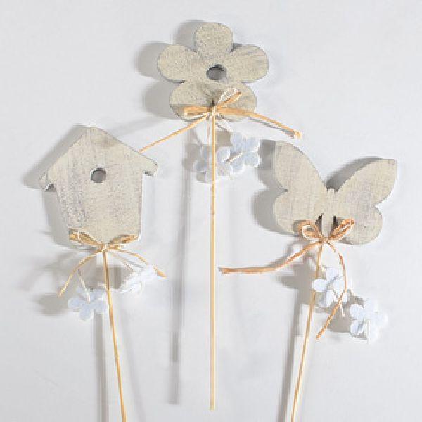 Stecker-Mix Frühling ALTWEISS Blume Schmetterling ca. 8x8cm 83067 Vogelhaus