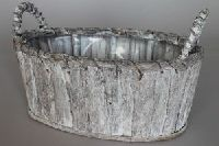 Pflanzkorb/Holzkorb GRAU-WEISS-WASHED 43204 oval 39x20xH17cm