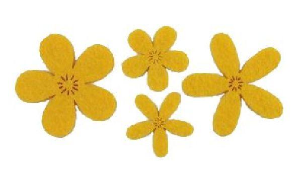 Filzstreu Smati GELB 16045  72 Stück Blüte 2,5-3,9cm  4-fach sort.