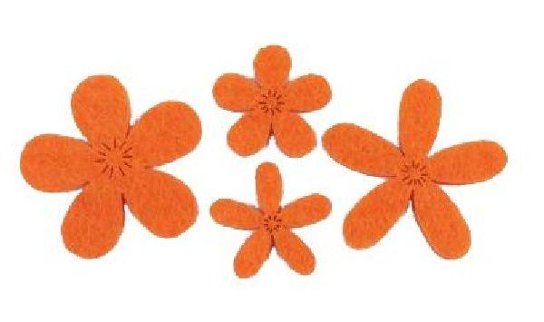 Filzstreu Smati ORANGE 16045  72 Stück Blüte 2,5-3,9cm  4-fach sort.