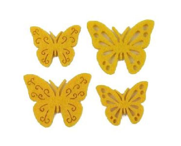 Filzstreu Smati GELB 16046  72 Stück Schmetterling 3,5-4cm  4-fach