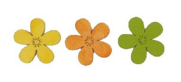 Streublüte Wooden GELB-ORANGE-GRÜN 4cm Holz 16051 3-farbig