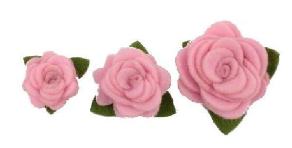 Rosenköpfe zum Aufkleben ROSA 16810 Filz mit Klebepad Ø4cm Ø3cm Ø2cm gemischt