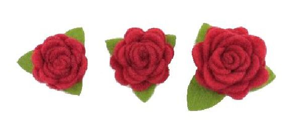 Rosenköpfe zum Aufkleben ROT 16810 Filz mit Klebepad Ø4cm Ø3cm Ø2cm gemischt