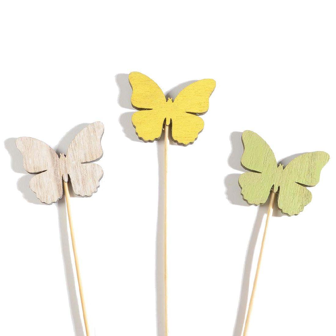 Stecker Swiff GELB-WEISS-GRÜN Schmetterling 6x0,5x5cm Holz