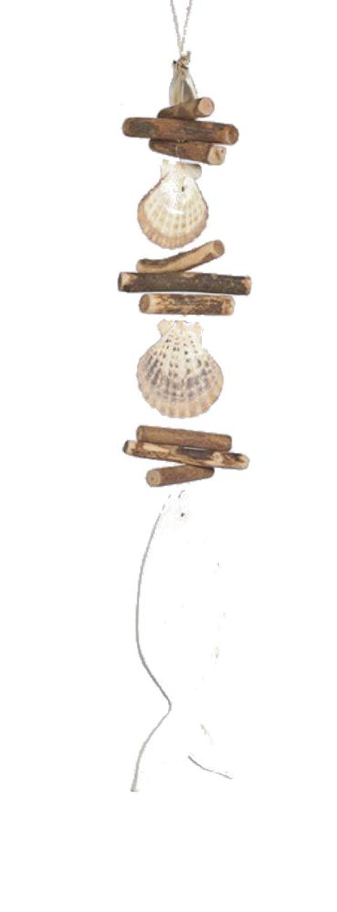 Fisch Sealine BLAU-WEISS 36147 Holz+Muschel Girlande Länge=31cm