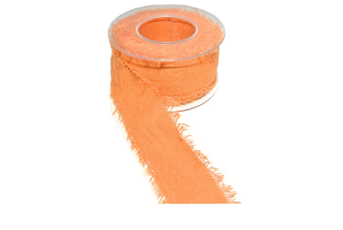 Baumwollband mit Fransenkante ORANGE 850 40 mm 5 Meter