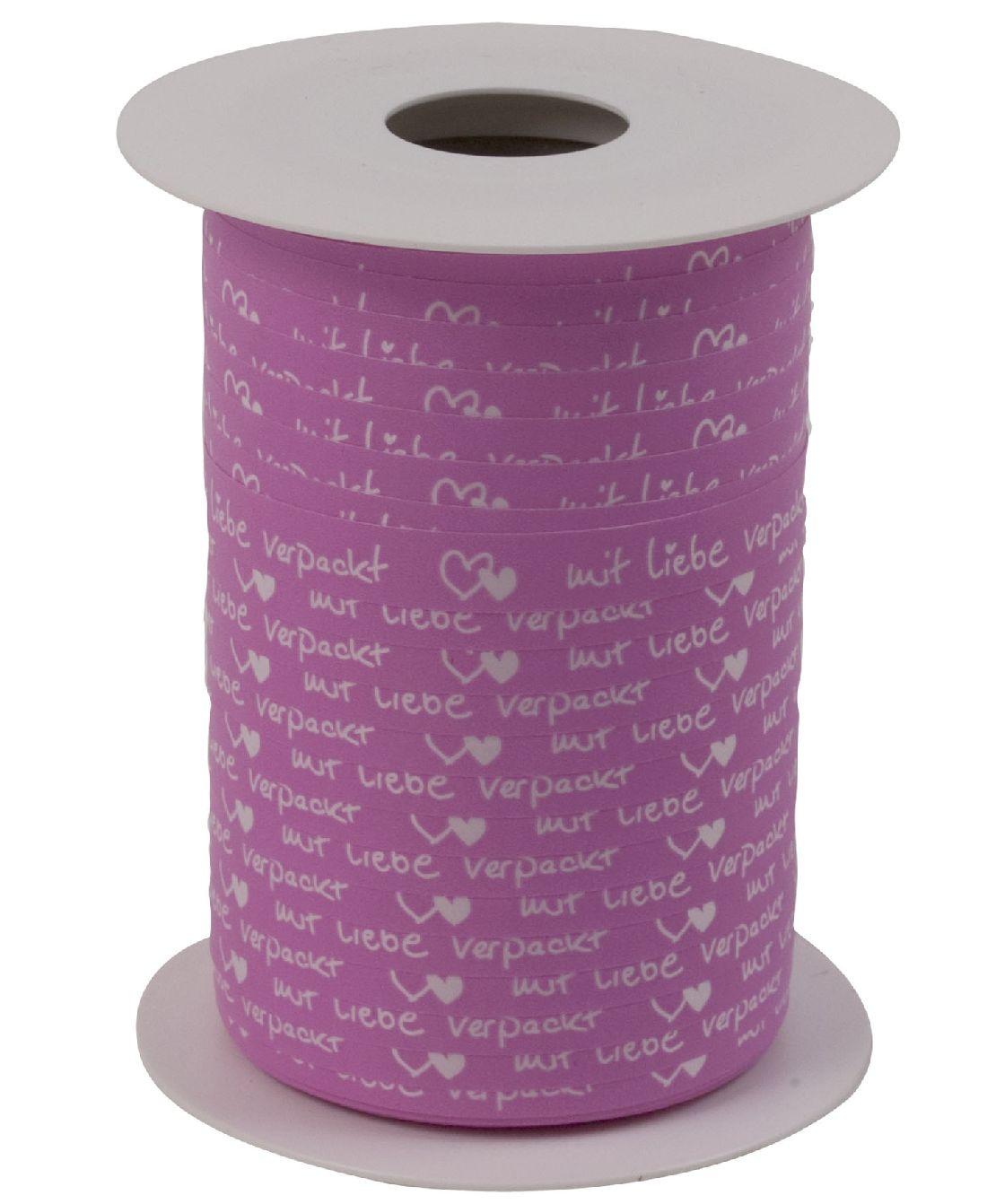 Polyband Mit Liebe verpackt PINK 8169 Ringelband 10mm  150Meter Ziehband