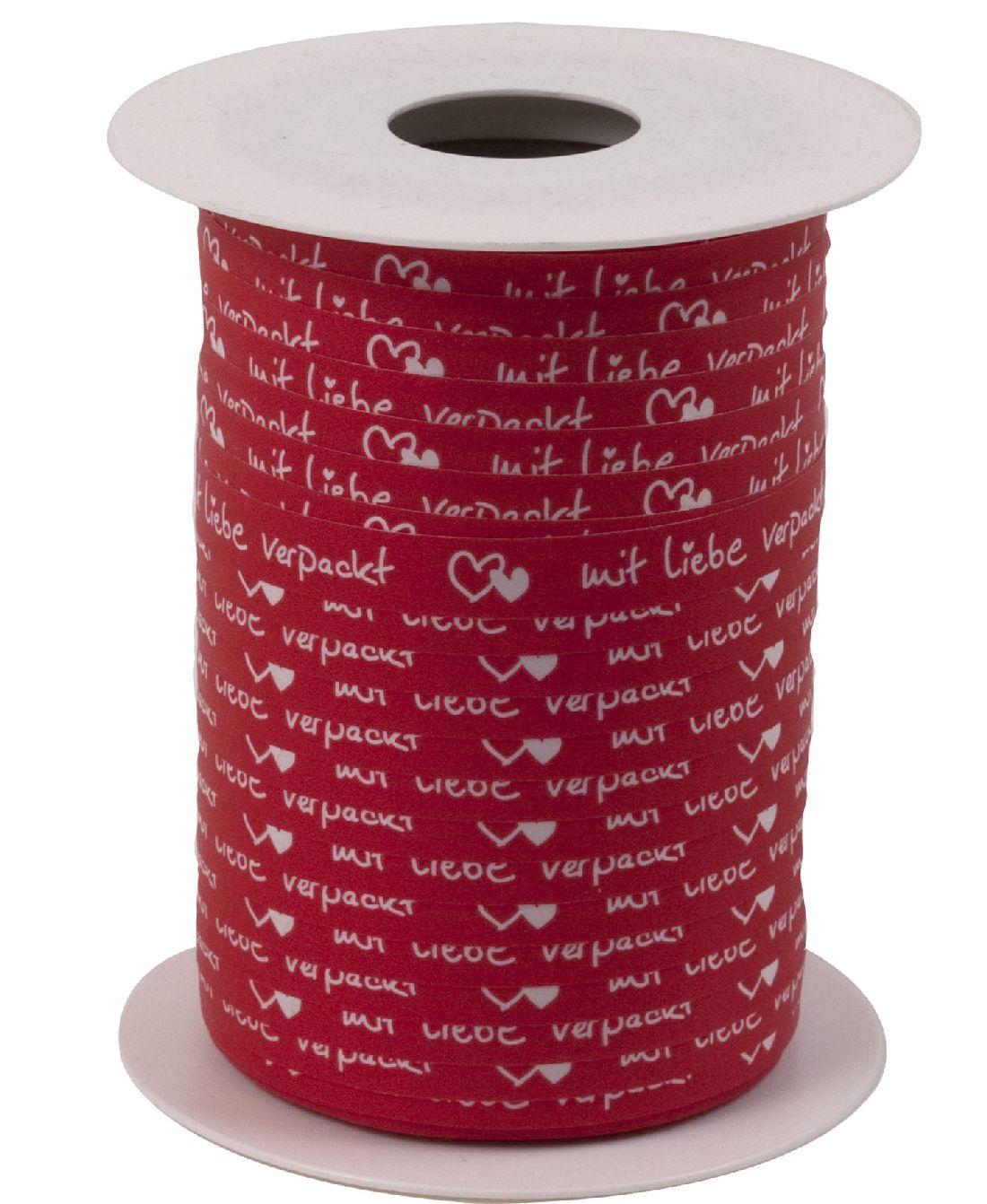Polyband Mit Liebe verpackt ROT 8169 Ringelband 10mm  150Meter Ziehband