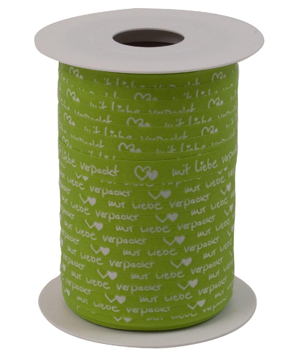 Polyband Mit Liebe verpackt APFELGRUEN 8169 Ringelband 10mm  150Meter Ziehband