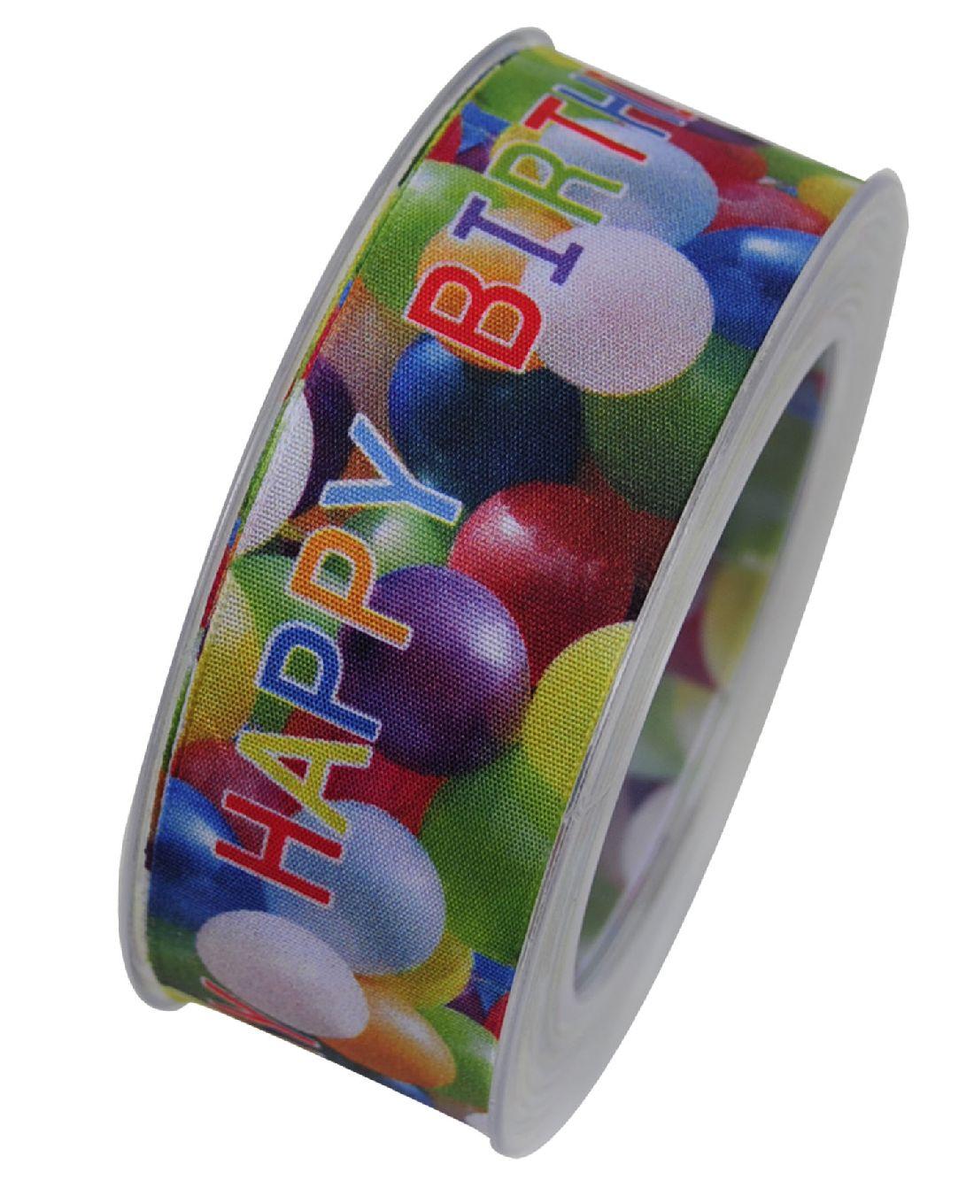 Band Happy Birthday Luftballon X409 mit formstabiler Kante 40 mm 15 Meter