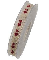 Band Miniherzen / Herzband ROT X558 20 15 mm  20 Meter