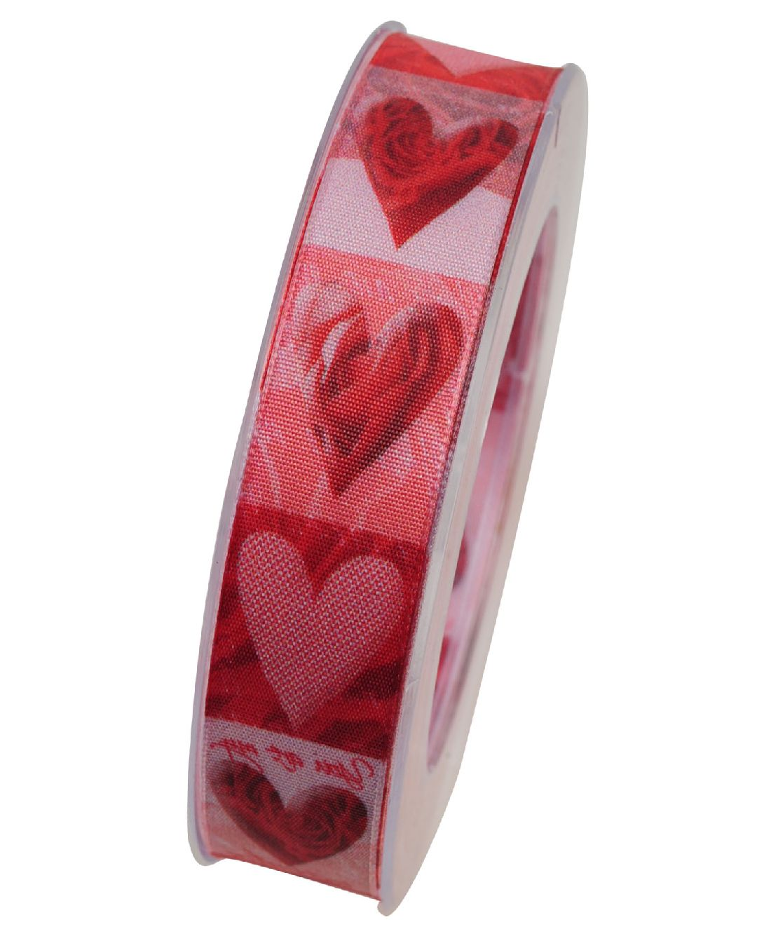 Band Kiss me / Herzband ROT mit formstabiler Kante 25mm 20Meter X564 20