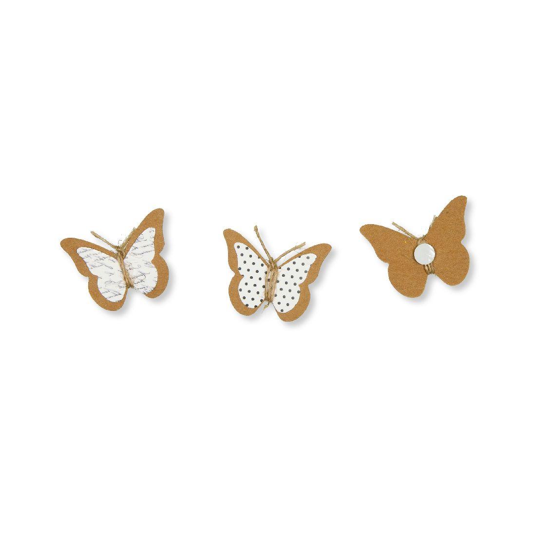 Schmetterling Sticker Klebepad NATUR-WEISS 19665 4,5cm 2-fach sort. aus Papier