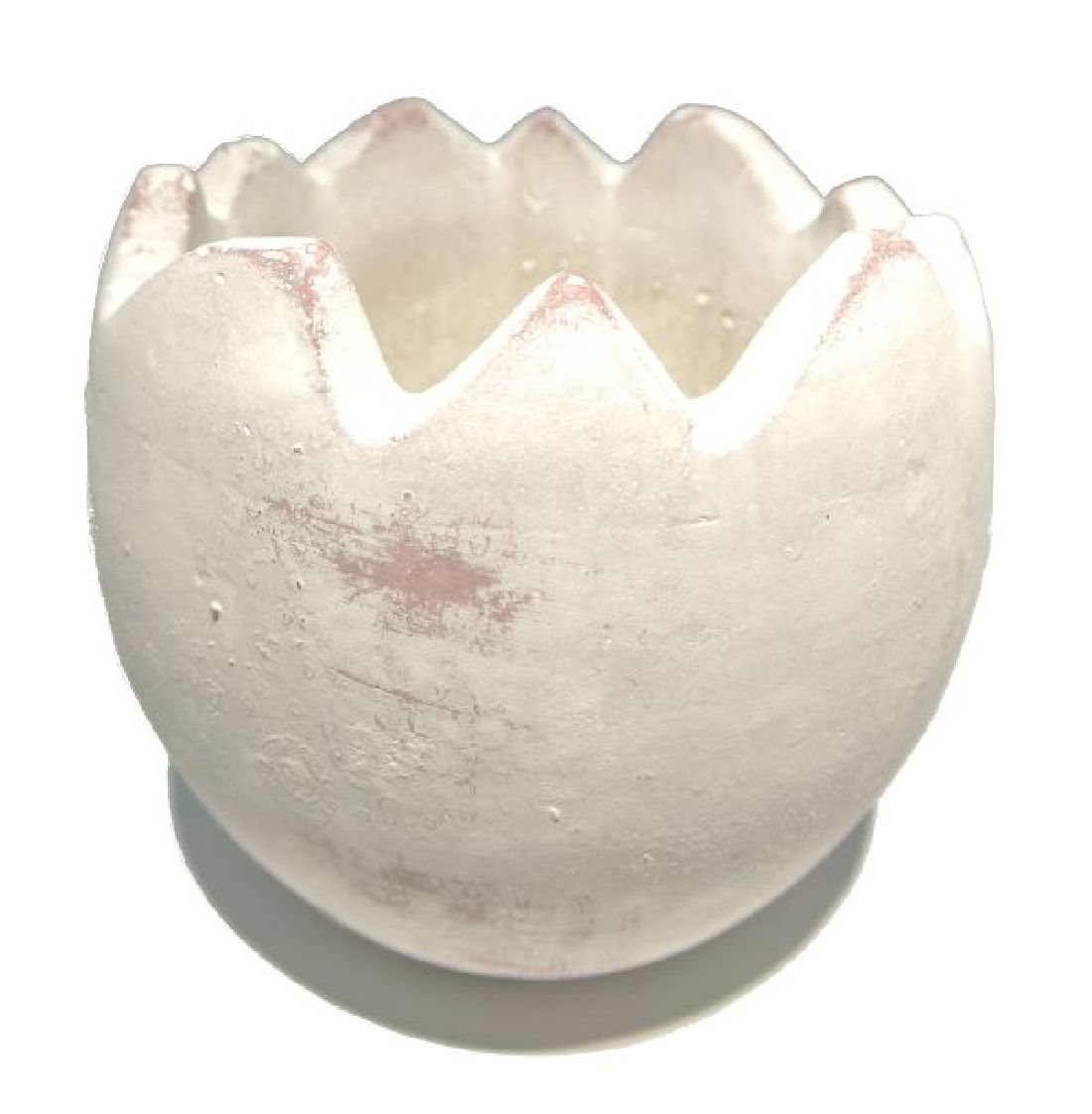 Ei gebrochen Keramik 24194 ANTIK WEISS 14,5x14,5x13,5cm wasserdicht