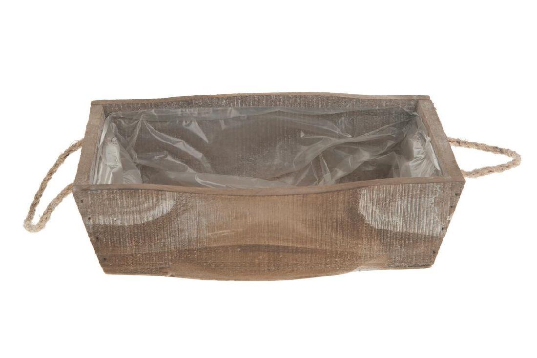 Holzkiste mit Kordelgriff BRAUN-WASHED 18311 23x16,5x6,5cm mit Folie