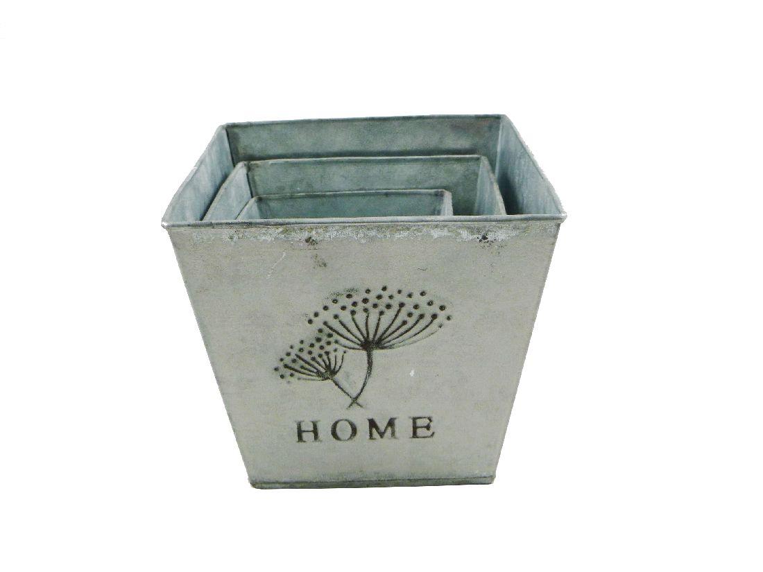 Metallkübel HOME ANTIK 13826  3er Set eckig 10x10/13x12/15,5x14cm