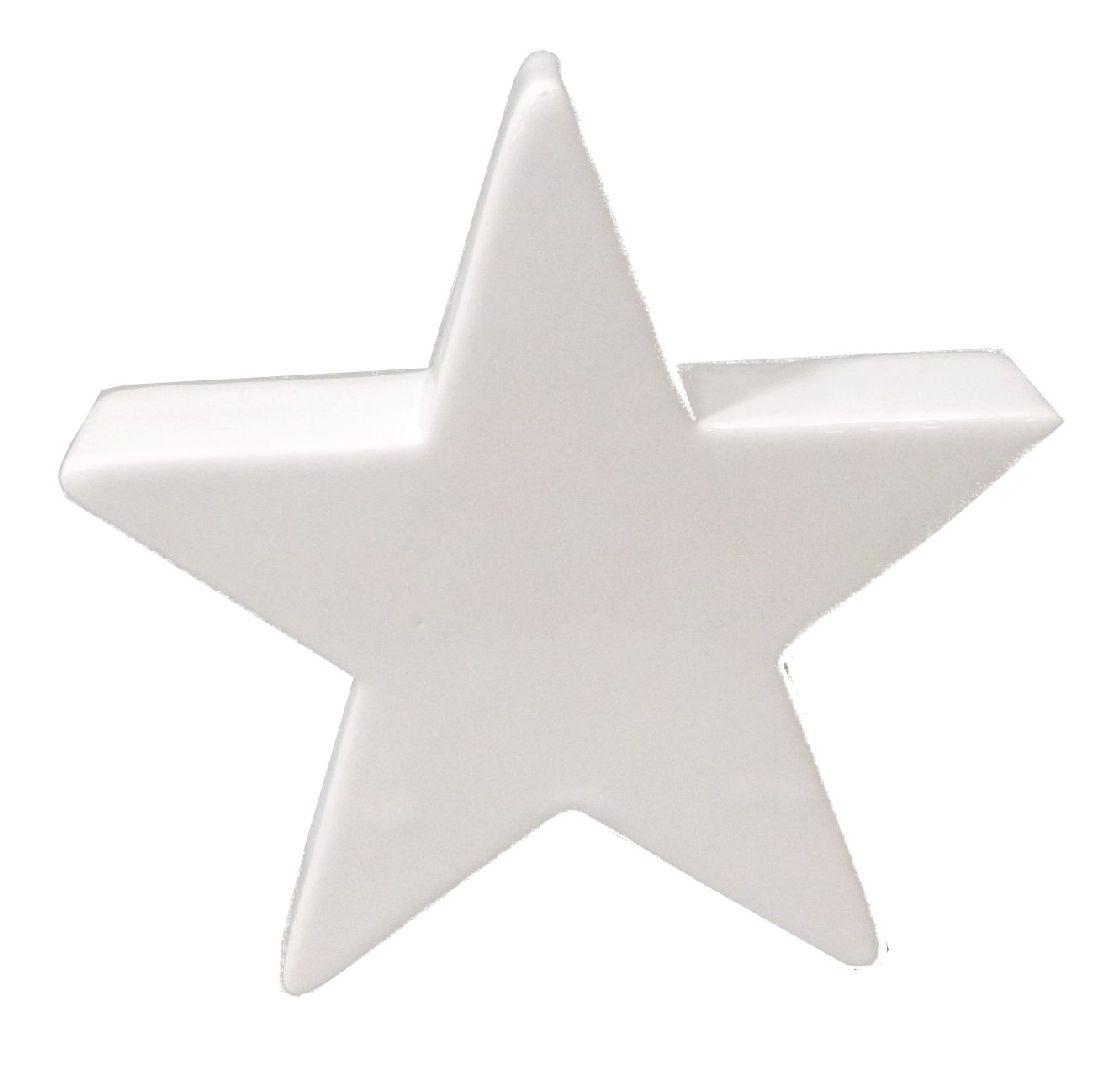 Stern Keramik / Dekostern 40614 WEISS-GLASIERT L=8cm B=3cm H=8cm