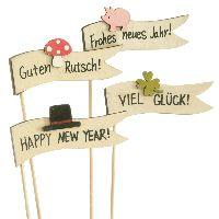 Silvesterstecker Wünsche 62583 Guten Rutsch/ Viel Glück 8x4cm Holz  Frohes neues Jahr/