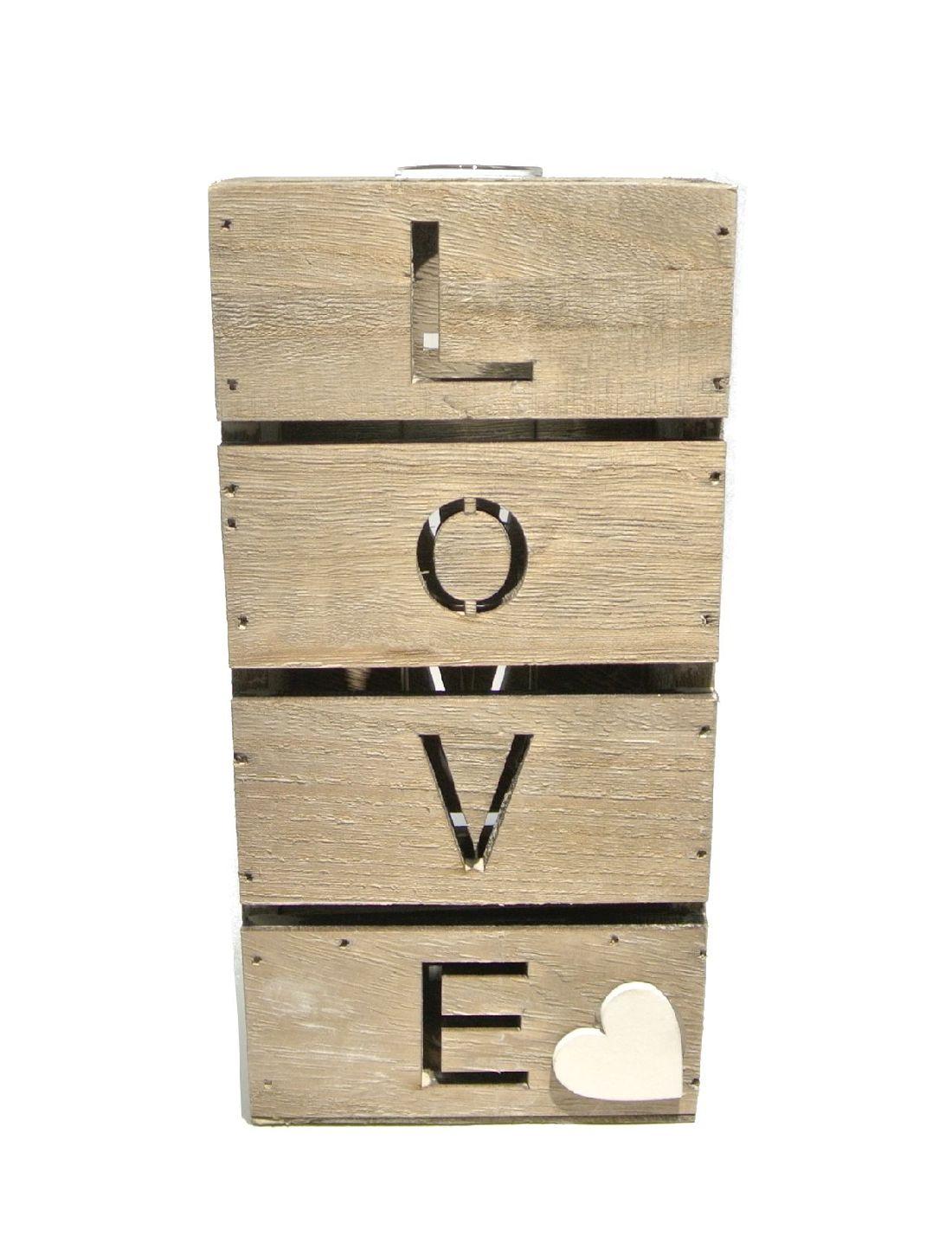 Reagenzgläser im Holzrahmen 20-3423 LOVE GRAU-WASHED 10x6xH20cm mit 1Glas Ø3cm