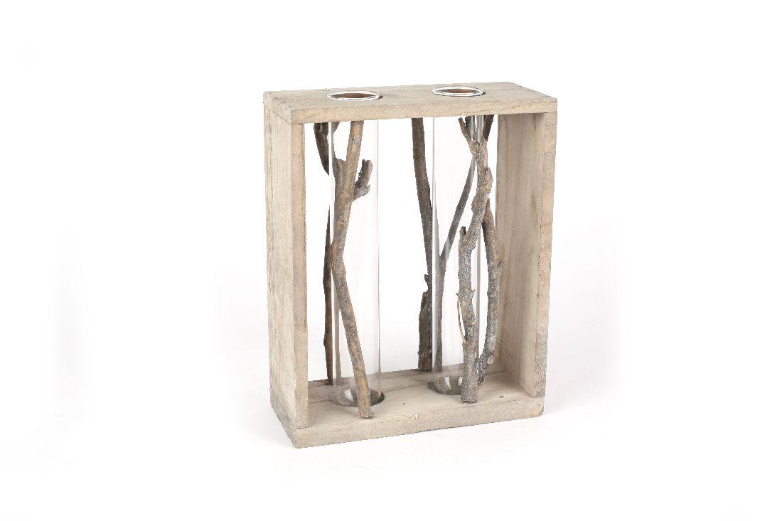 Reagenzgläser im Holzrahmen WASHED-OPTIK 01HIG01 16x7x20cm mit 2Gläsern Ø2,8cm
