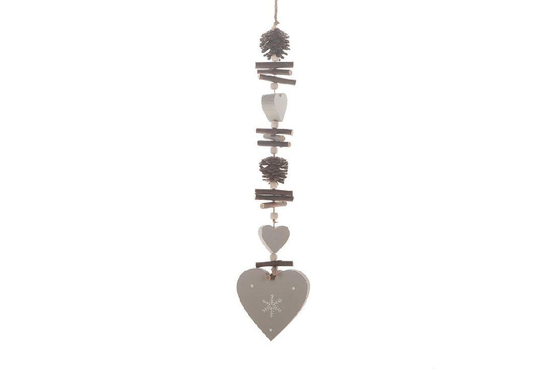 Herzgirlande Forrest mit Zapfen, Holzstücken+Perlen 50cm 19555 grau