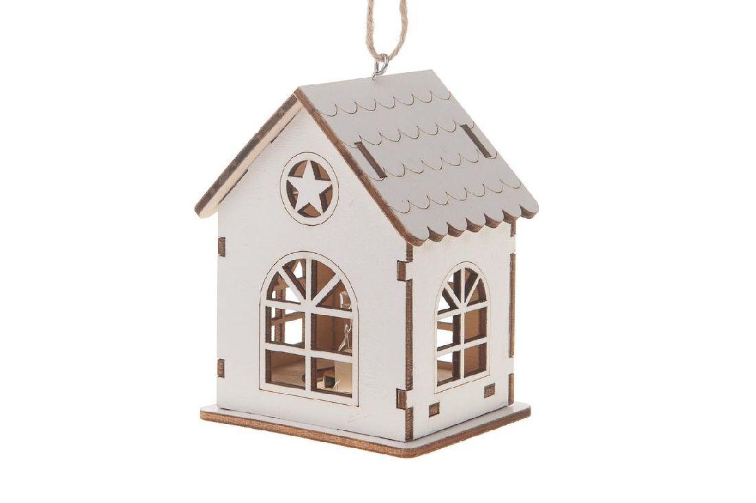 Haus mit Beleuchtung WEISS 19758 inkl. Batterie 7,5x6,5x9,8cm Holz zum Hängen