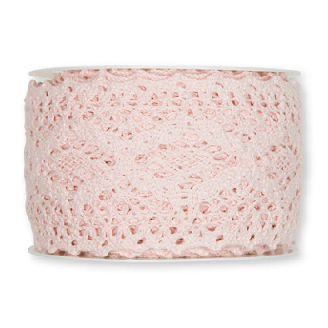 Häkelspitze rosa/blassrosa23 aus Baumwolle Breite: 60 mm 2196