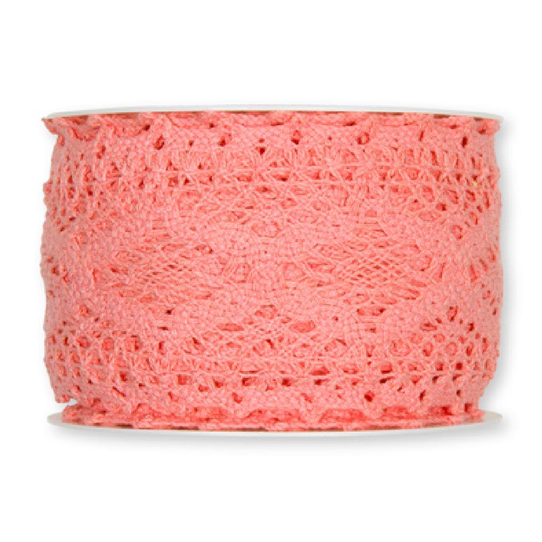 Häkelspitze rosa/flamingo 26 aus Baumwolle Breite: 60 mm 2196
