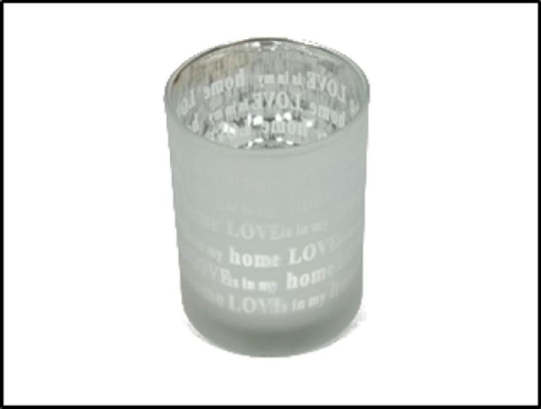 Teelichtglas mit Spruch 22-4875 silber-weiss Love is in my home Ø7cm H:8cm