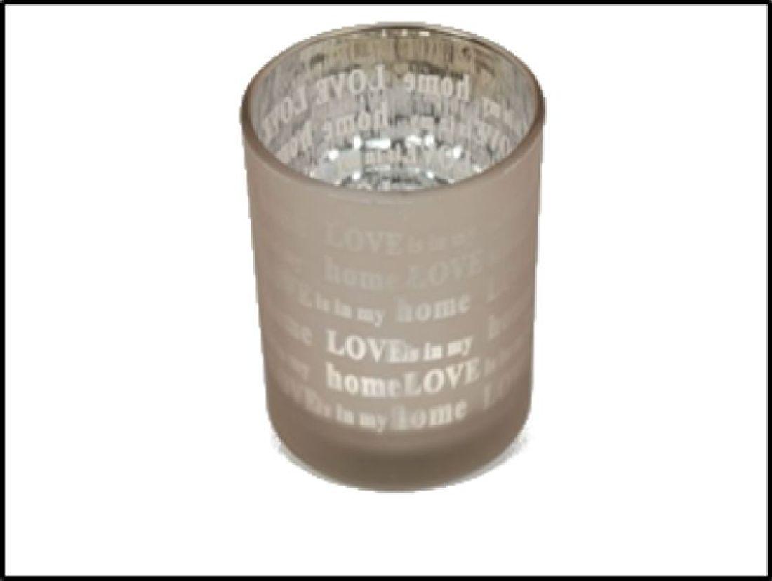 Teelichtglas mit Spruch 22-4875 cappuccino-braun Love is in my home Ø7cm H:8cm