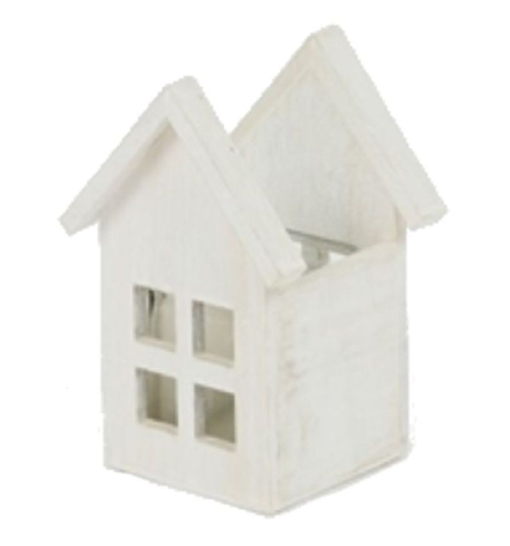 Holzhaus-Windlicht altweiss 20-4519 9x9,5xH16cm Glas:7x7x7,5cm