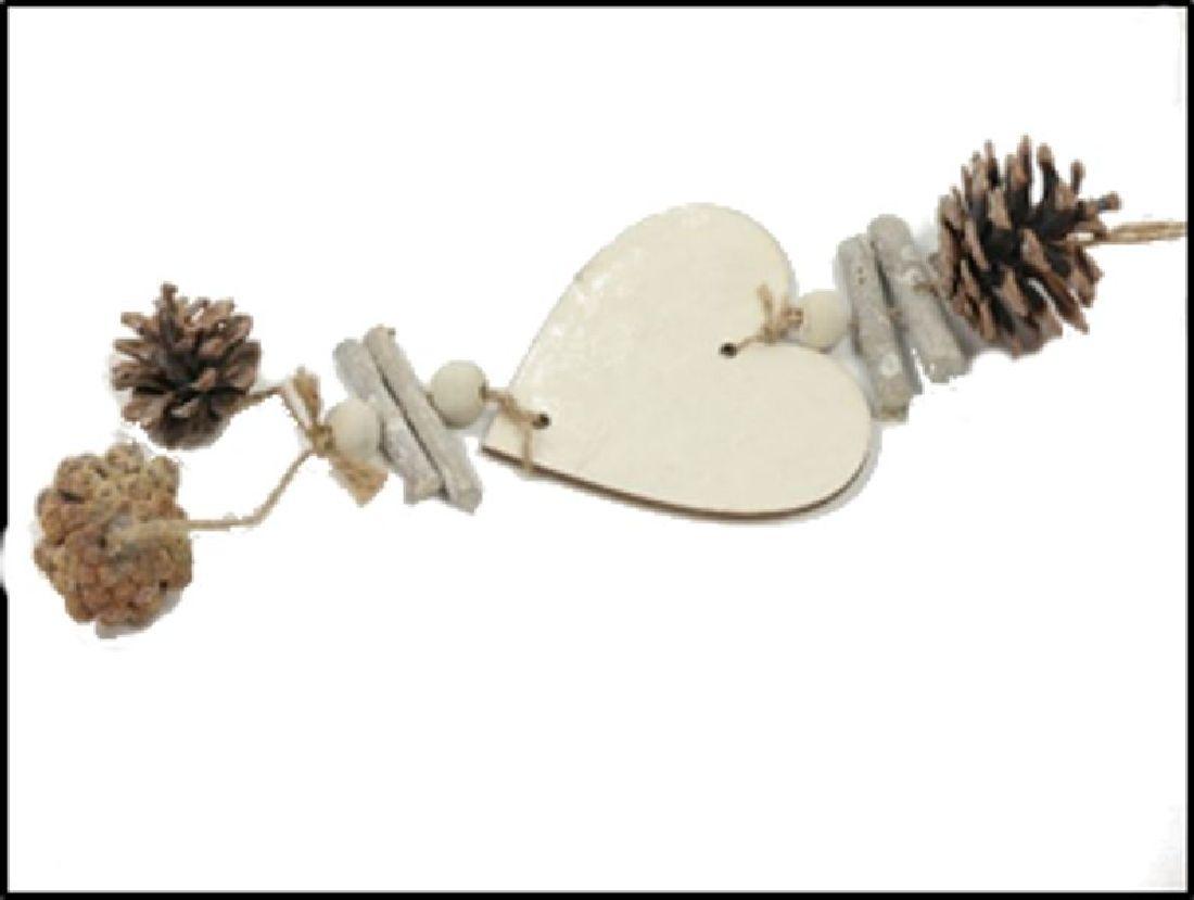 Dekohänger Pinecone WHITE-WASH 22-6131 Herz 45cm